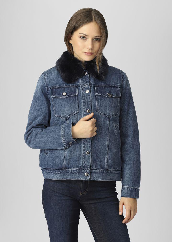 Denim jacket with detachable faux-fur collar   Woman   Emporio Armani d87f62bf15c