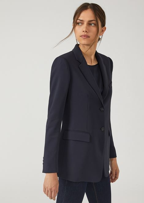 Single-breasted two-button jacket in stretch tricotine