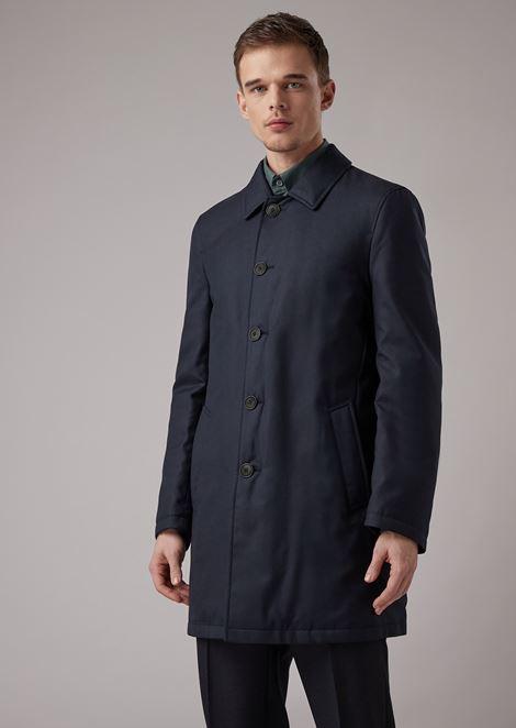 Reversible water repellent mixed gabardine cashmere trench coat