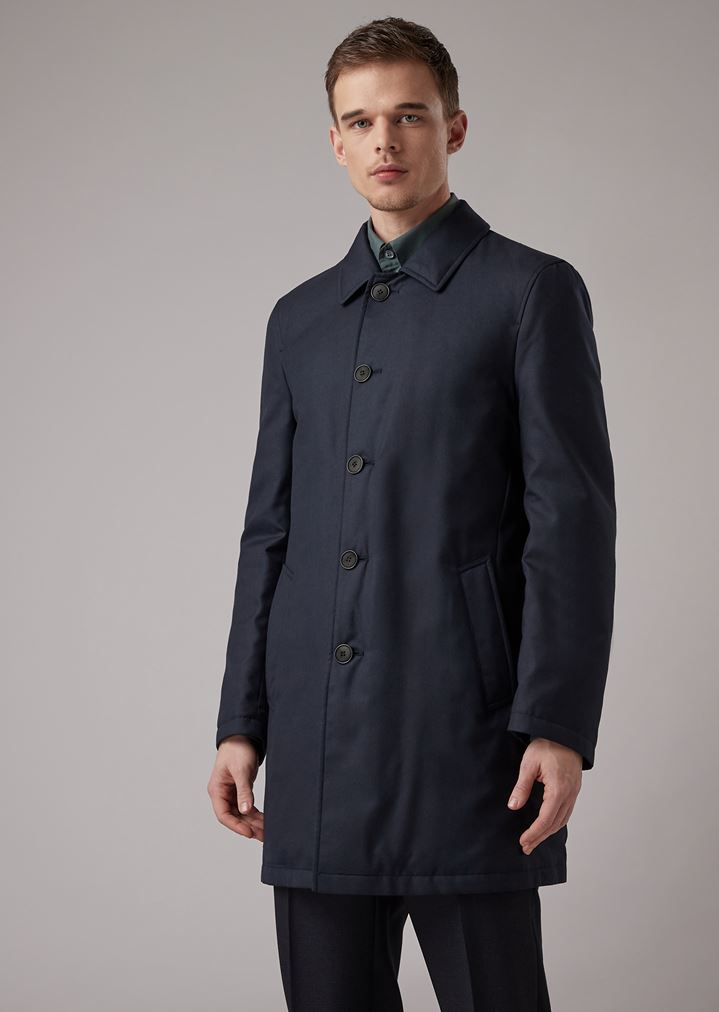 new arrival cdc2f a5b3d Trench reversibile in gabardine misto cashmere water repellent