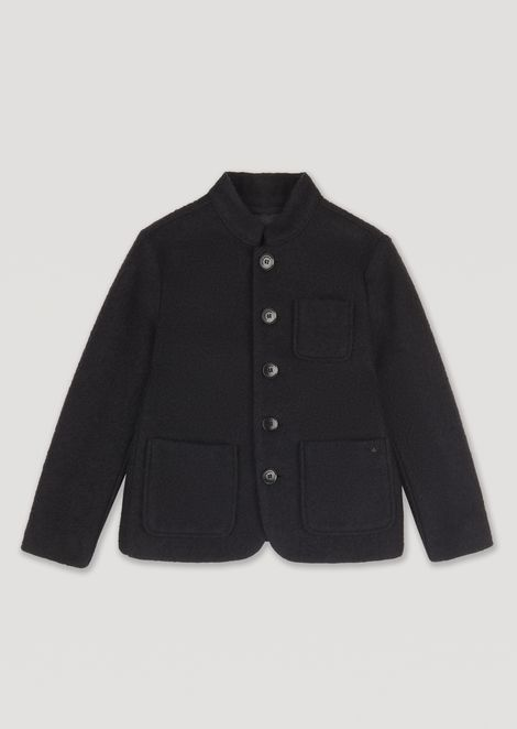 Jacket in virgin wool blend with buttons and patch pockets