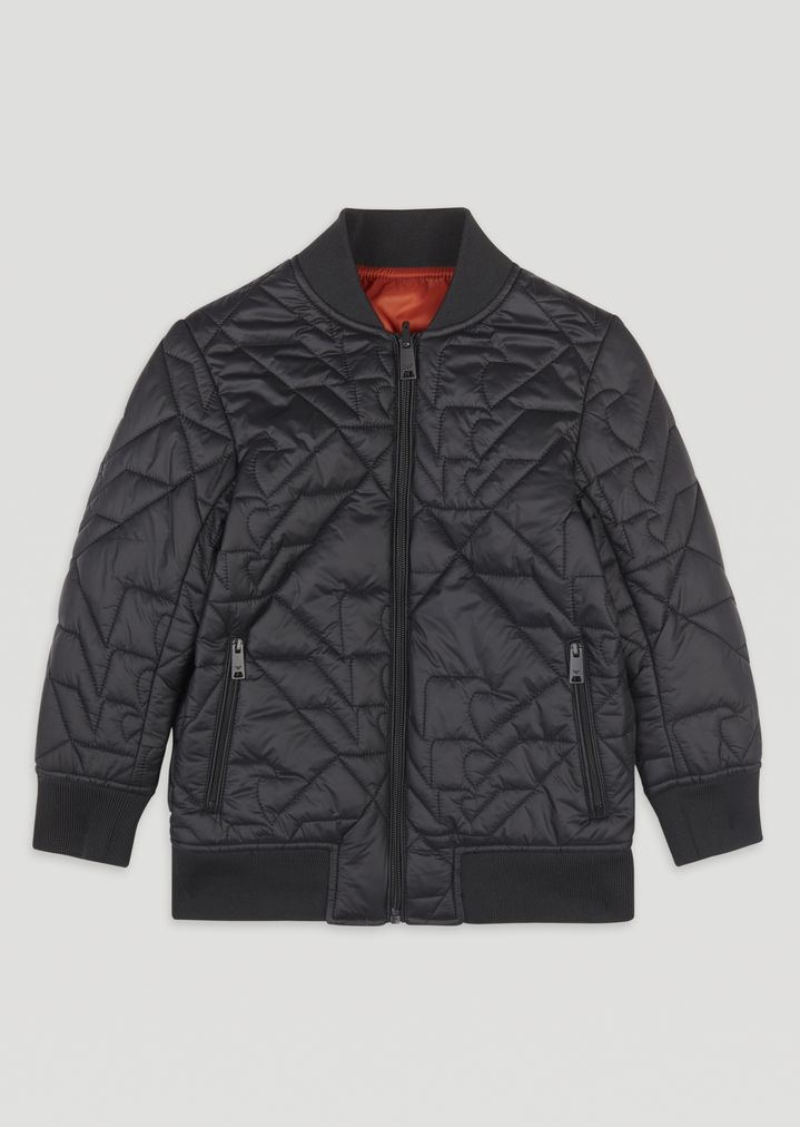 Reversible Nylon Bomber Jacket With Varied Quilting Man Emporio