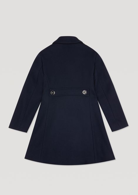 Wool broadcloth coat with two buttons