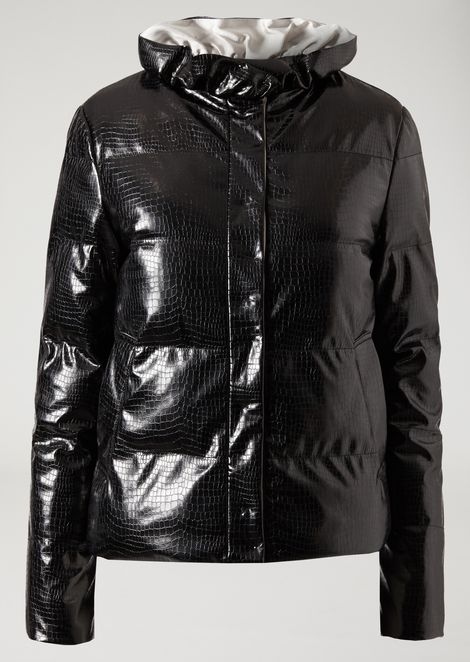Vinyl quilted jacket with croc print