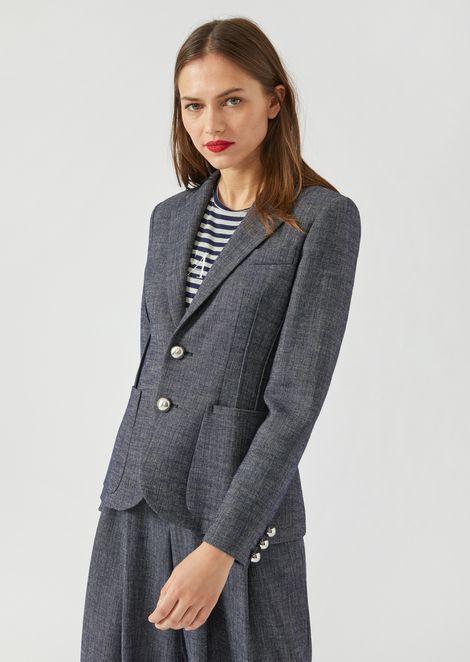 Single-breasted melange jacket with side pleats