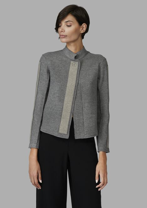 Cashmere broadcloth jacket with GA detail and contrasting inserts