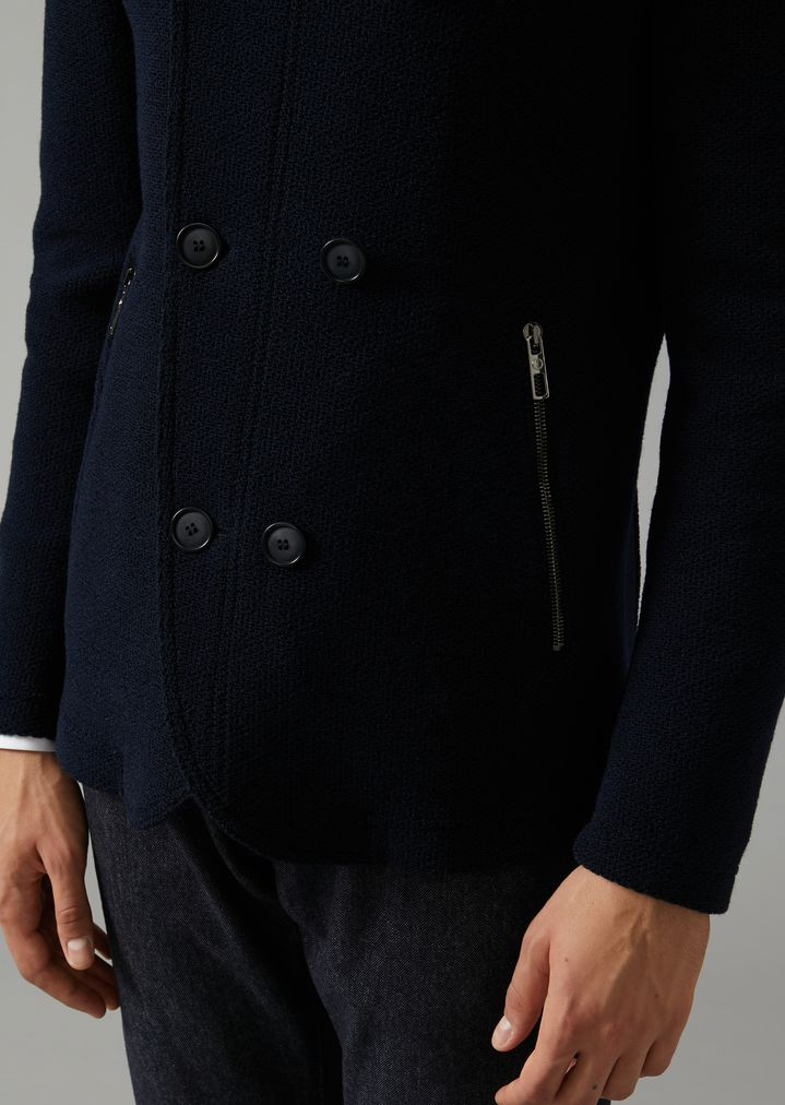GIORGIO ARMANI Double-breasted bonded granité jersey peacoat Peacoat Man a