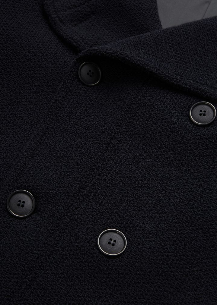 GIORGIO ARMANI Double-breasted bonded granité jersey peacoat Peacoat Man c