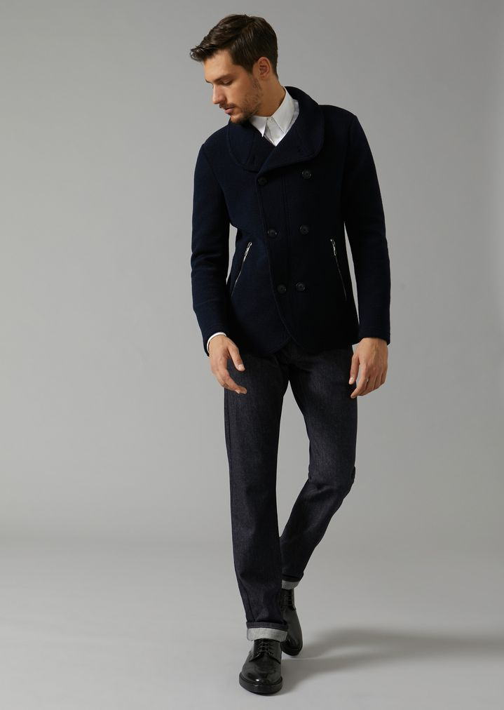 GIORGIO ARMANI Double-breasted bonded granité jersey peacoat Peacoat Man d