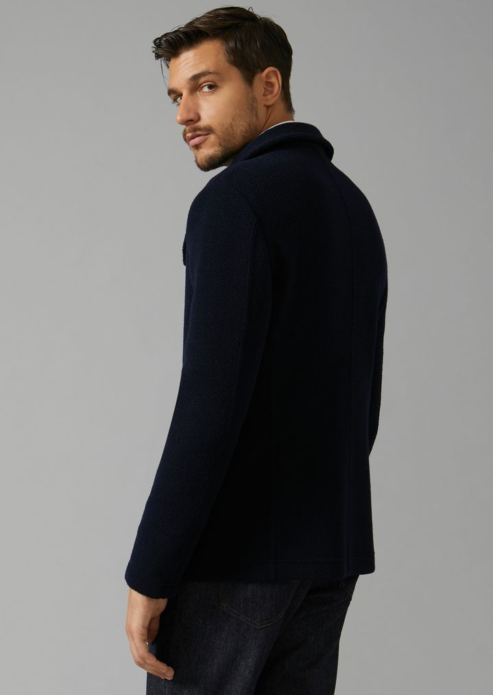 GIORGIO ARMANI Double-breasted bonded granité jersey peacoat Peacoat Man e
