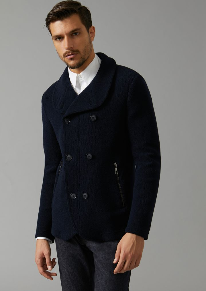 GIORGIO ARMANI Double-breasted bonded granité jersey peacoat Peacoat Man f