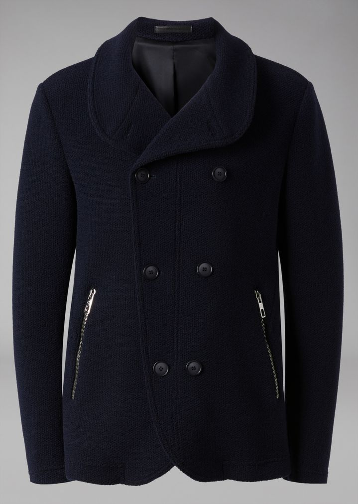 GIORGIO ARMANI Double-breasted bonded granité jersey peacoat Peacoat Man r