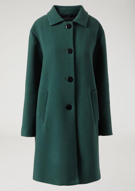 Single-breasted wool broadcloth coat