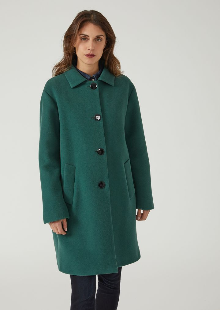09e598e1bb Cappotto monopetto over in panno di lana | Donna | Emporio Armani