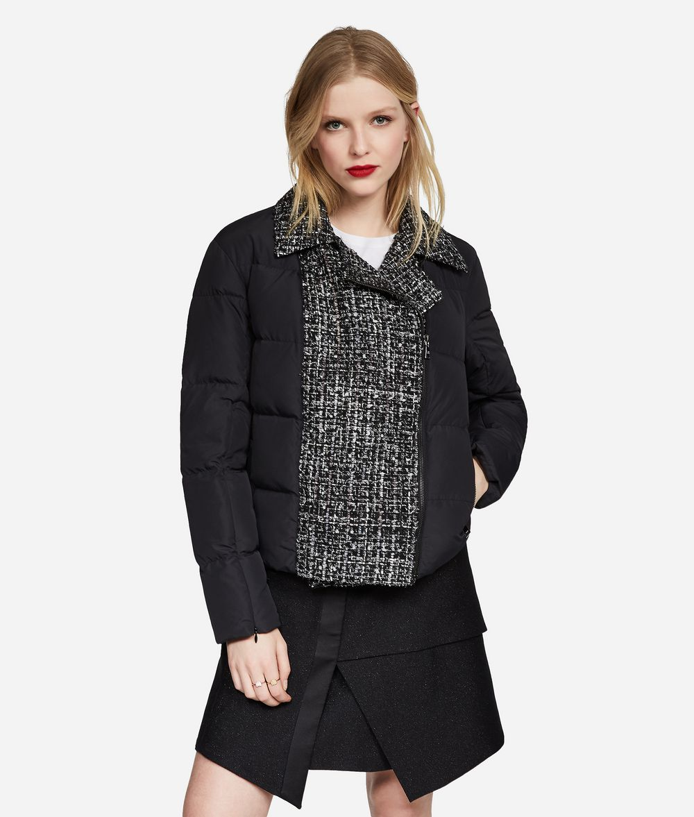 KARL LAGERFELD Bouclé and Nylon Down Jacket Jacket Woman f