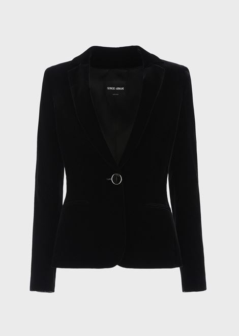 Single-breasted velvet jacket with jewel button detail