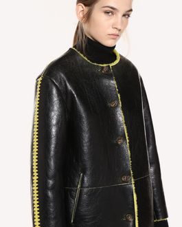 REDValentino Sheepskin coat with Ornamental Frame embroidery