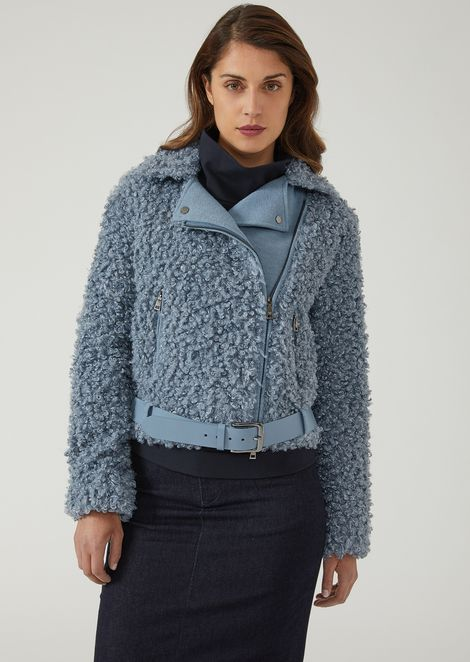 Bouclé and broadcloth biker blouson with belt at waist