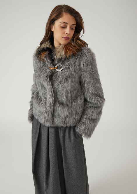 Faux-fur coat with contrasting collar and metal hook