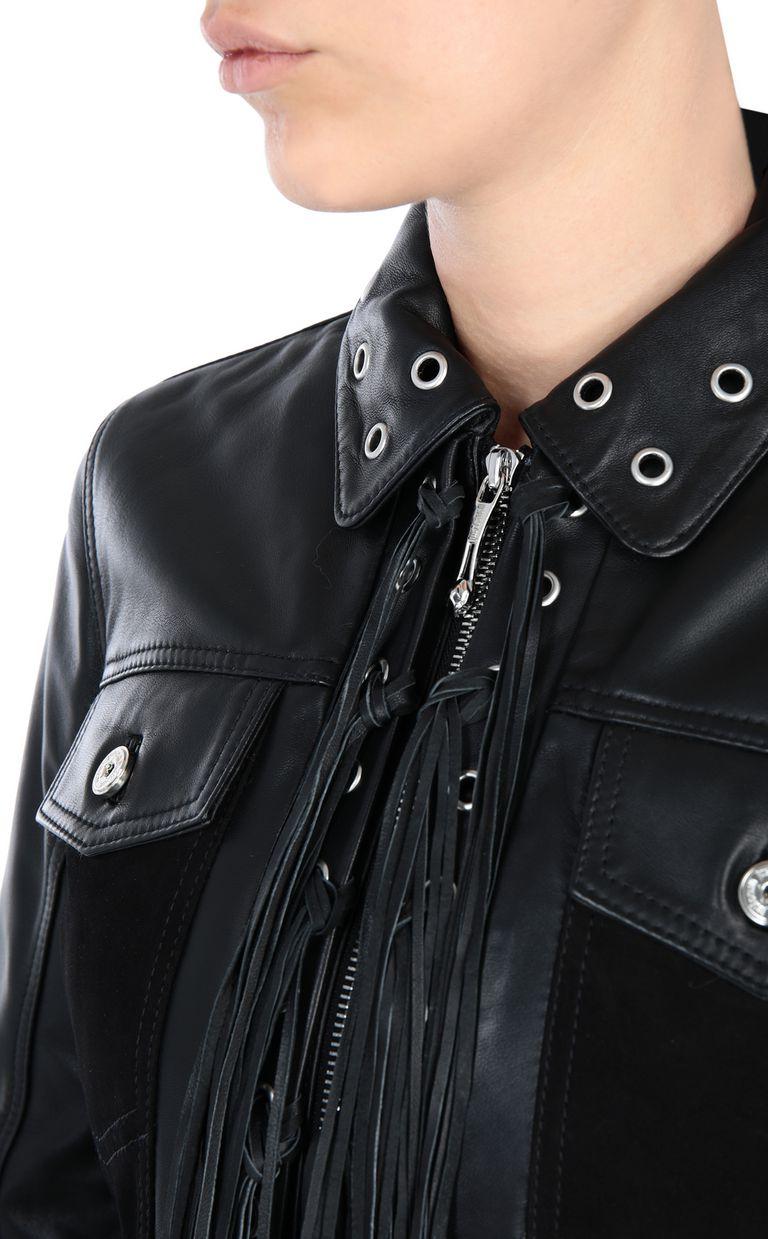 JUST CAVALLI Leather jacket with fringe detail Leather Jacket [*** pickupInStoreShipping_info ***] e