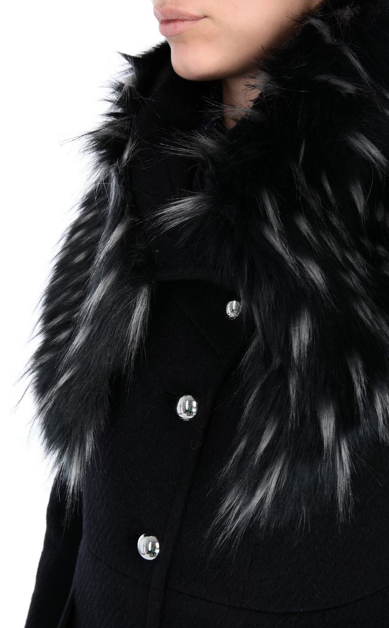 JUST CAVALLI Knee-length coat with fur trim Coat [*** pickupInStoreShipping_info ***] e