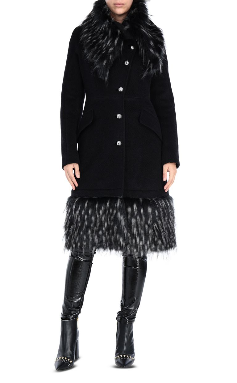 JUST CAVALLI Knee-length coat with fur trim Coat [*** pickupInStoreShipping_info ***] f
