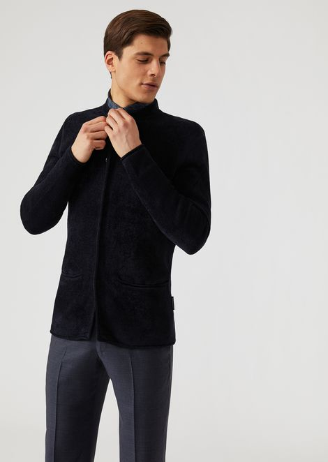 Single-breasted plated chenille knit jacket with concealed buttons