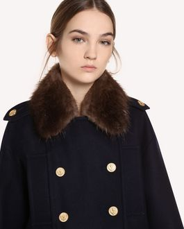 REDValentino Pea Coat in Naval Wool with fur collar