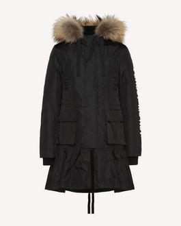 REDValentino Nylon peacoat with Encrypted Love Letters print