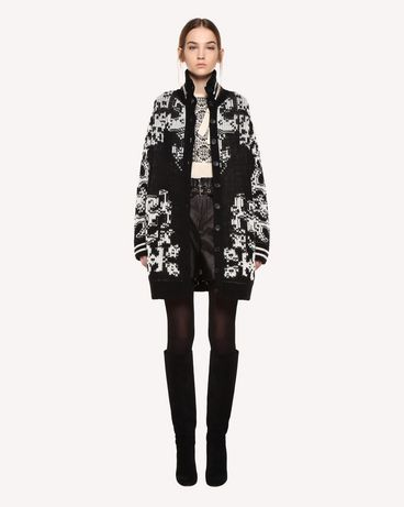 REDValentino Maxi cardigan in wool with stencil inlay