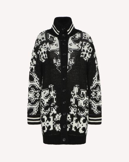 Maxi cardigan in wool with stencil inlay