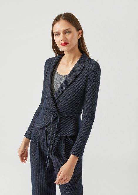 Geometric jersey jacquard jacket with crossover front closure