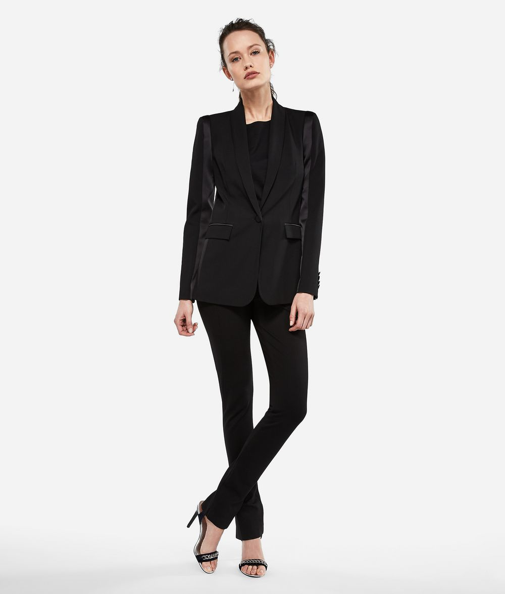 KARL LAGERFELD Wool and Satin Tuxedo Blazer Blazer Woman f