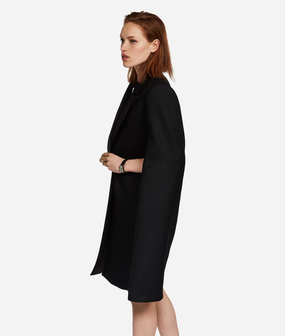 KARL LAGERFELD Virgin Wool Tailored Cape Jacket Woman d