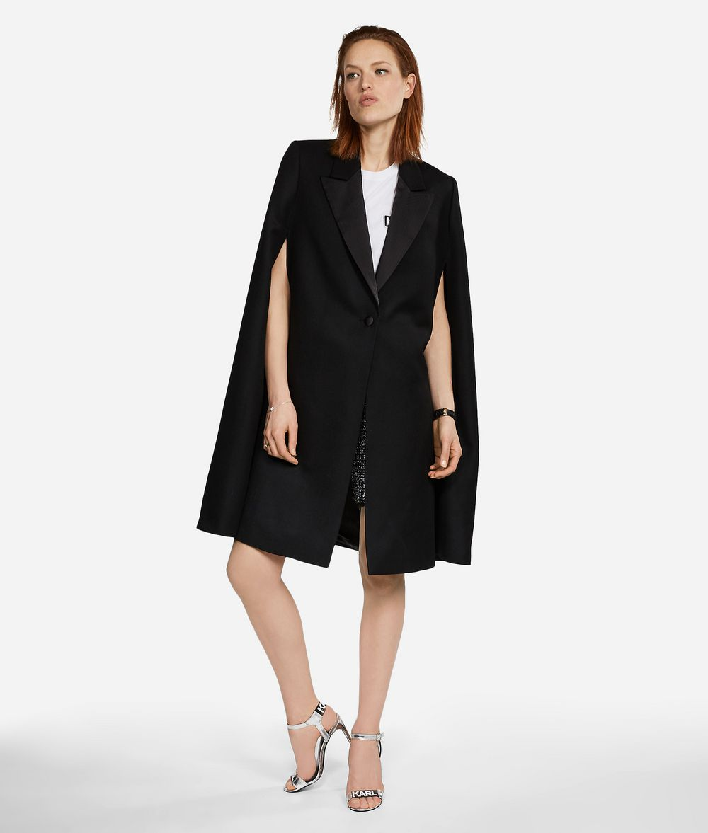 KARL LAGERFELD Virgin Wool Tailored Cape Jacket Woman f