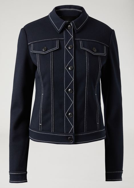 Cavalry and jersey jacket with contrasting stitching