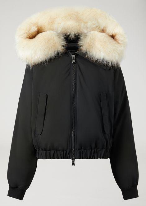 Padded nylon jacket with faux bearskin