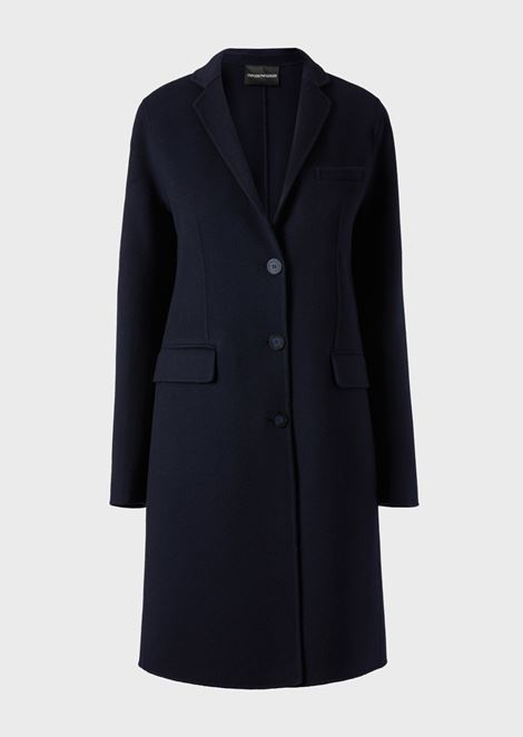 Single-breasted coat in double cashmere