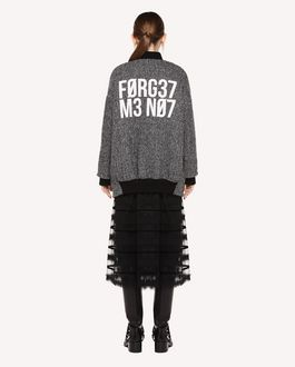 "REDValentino Bomber jacket in Chevron Wool with ""Forget me Not"" print"