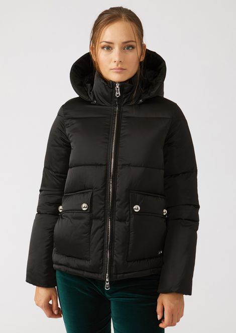 Padded jacket with hood in glossy nylon