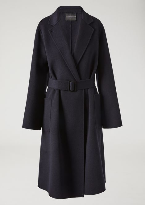 Pure cashmere coat with removable belt and lapel collar