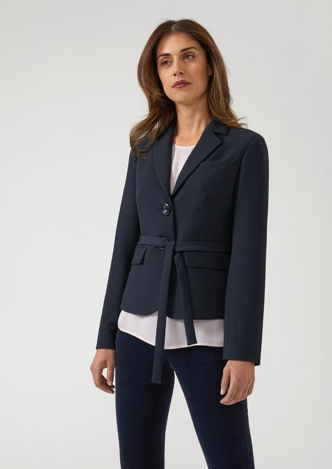 Single-breasted jacket in double poly-viscose canvas with belt