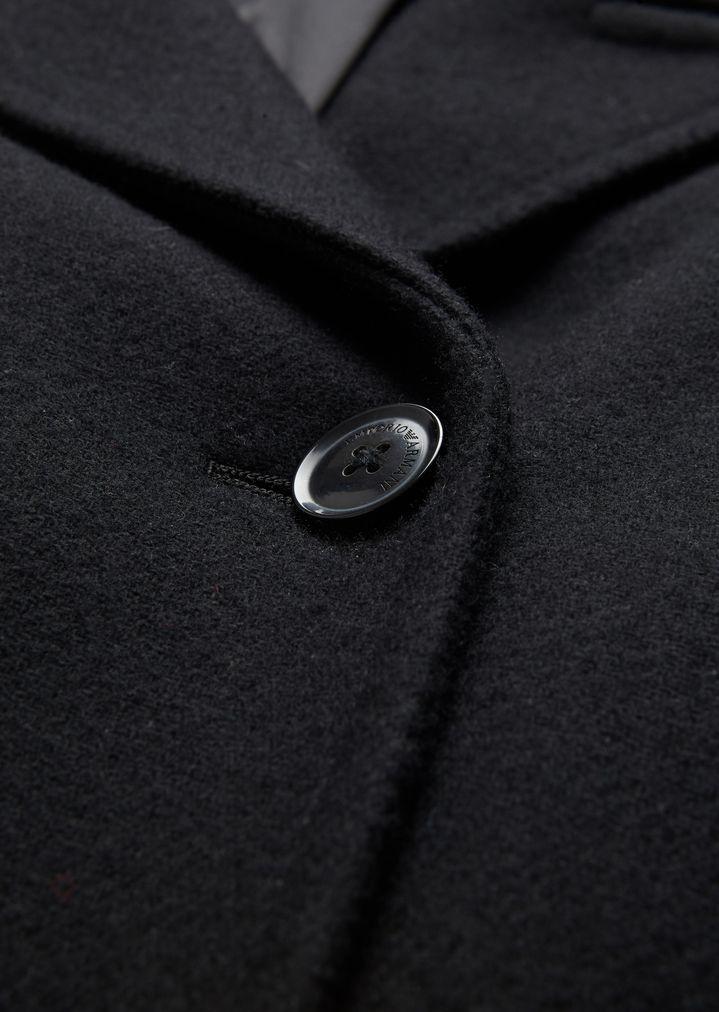 Manteau croisé en calvary et mélange de laine avec revers