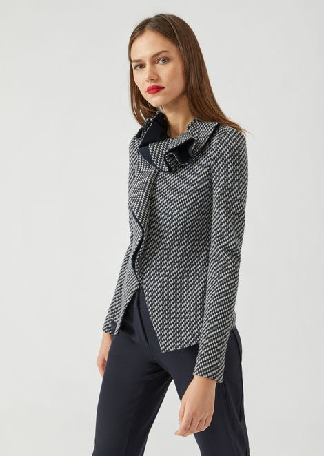 Jacket in jersey jacquard with geometric design and ruffle collar