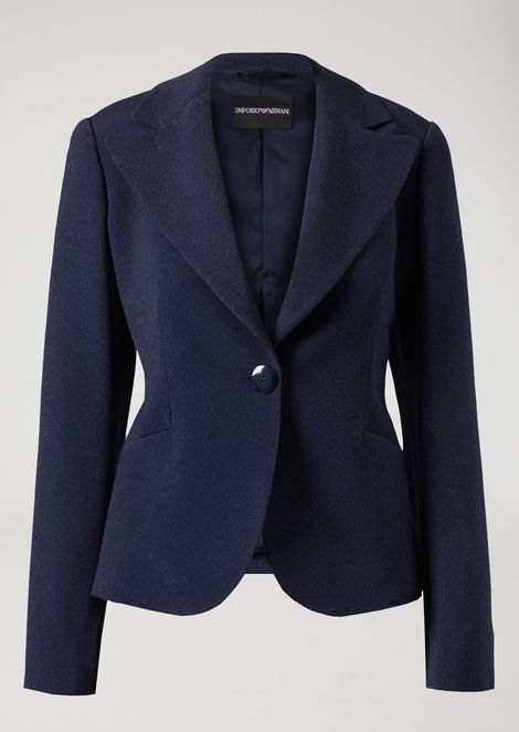 Single-breasted jacket in mélange-effect two-way stretch viscose