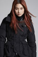 DSQUARED2 Taffeta Ribbed Collar Puffer Jacket Kaban Woman