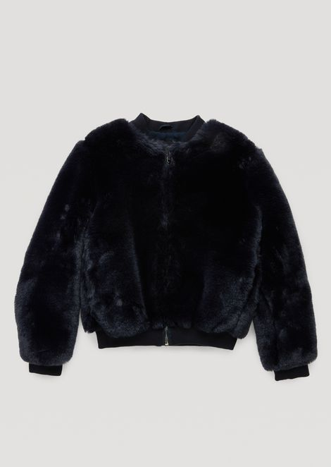 Faux-fur bomber jacket with logo embroidery on the back