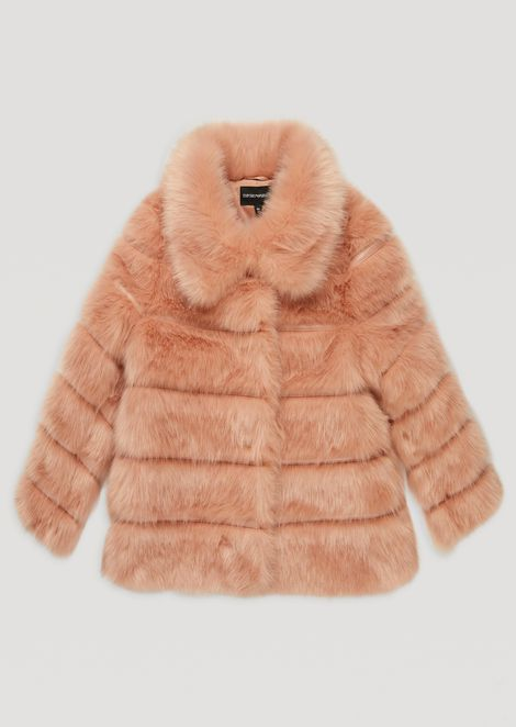 Tone-on-tone striped faux-fur coat with wide collar