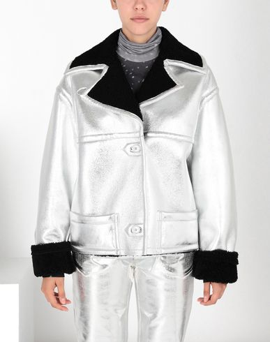 MM6 MAISON MARGIELA Jacket Woman Silver leather shearling jacket f