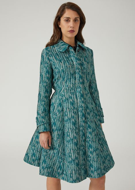 Flared chevron jacquard coat with pleats